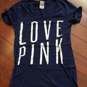 """Victoria's Secret Navy """"Love Pink"""" Tee"""